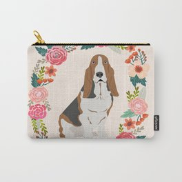 basset hound floral wreath dog gifts pet portraits Carry-All Pouch