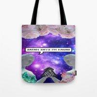 satan Tote Bags featuring SATAN SAYZ by Saturos