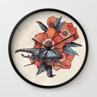 hercules Wall Clocks featuring Hercules Beetle by Angela Rizza