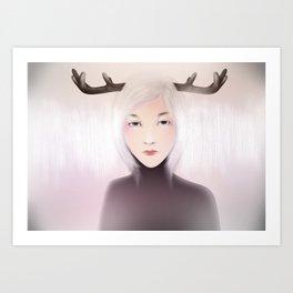 women_deer Art Print