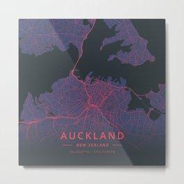 Auckland, New Zealand - Neon Metal Print