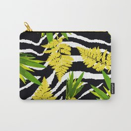 ZEBRA PALMS AND FERNS YELLOW AND GREEN Carry-All Pouch