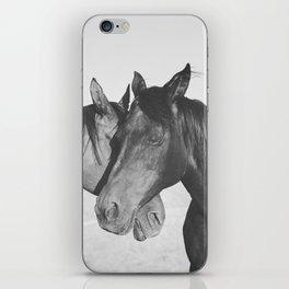 Horse Hug in Black and White iPhone Skin