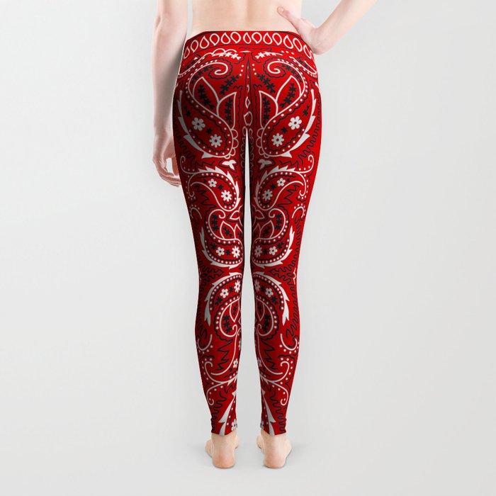 Paisley - Bandana - Red - Southwestern - Boho Leggings