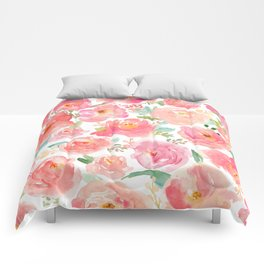 Pink Peonies Watercolor Pattern Comforters