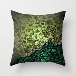 Wonderful floral design, green colors Throw Pillow