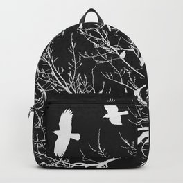 Crows Flying Over Trees Negative Silhouette Backpack