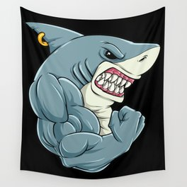 Shark At The Gym | Fitness Training Muscles Wall Tapestry