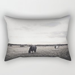 Horses in a Field in Black and White Rectangular Pillow