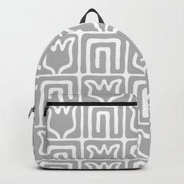Mid Century Flower Garden Pattern 381 Grey Backpack