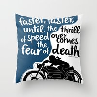 hunter s thompson Throw Pillows featuring Hunter S. Thompson Moto Girl  by Peated Proverbs