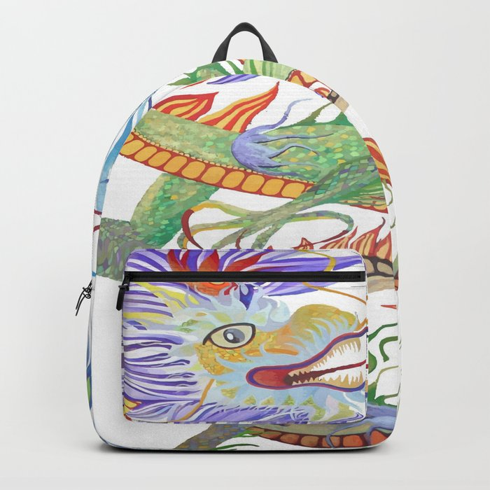 Bright and Vivid Chinese Fire Dragon Vector Backpack