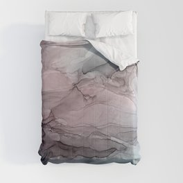Mauve Blush & Stormy Blue Flow Abstract 1 Comforters