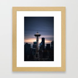 Space Needle Sunset - Seattle Nights Framed Art Print