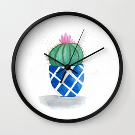 Round cactus in blue pot Wall Clock