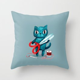 Sewing cat Throw Pillow