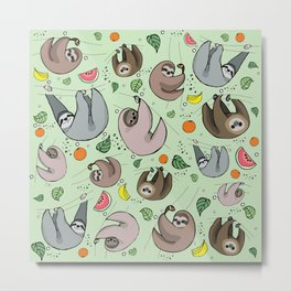 Sloth Party Metal Print