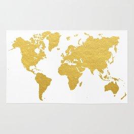 Gold World Map Rug