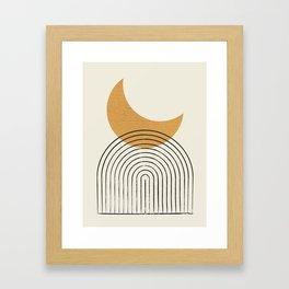 Moon mountain gold - Mid century style Framed Art Print