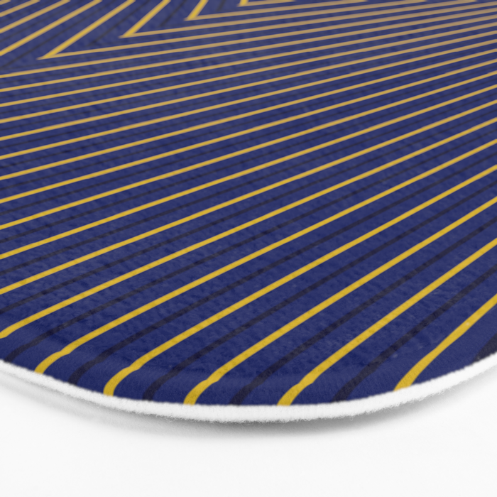Gold Diagonals and Rays on Navy Blue Bath Mat
