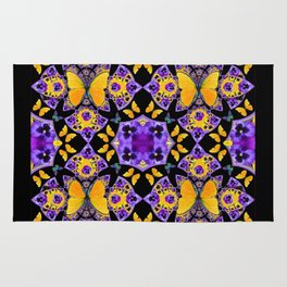 BLACK-GOLD-PURPLE BUTTERFLIES PANSY KALEIDOSCOPE Rug