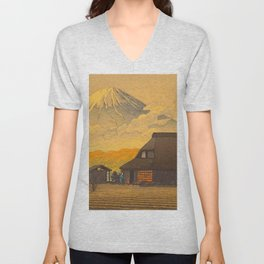 Vintage Japanese Woodblock Print Sepia Japanese Farm Mount Fuji Farmer Unisex V-Neck