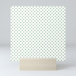 Small Green Polkadot Heart on Snow White Mini Art Print