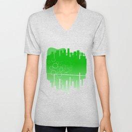 Abstract Green Guitar City Unisex V-Neck