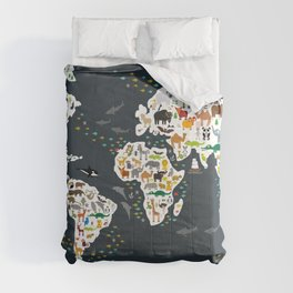Cartoon animal world map for children, kids, Animals from all over the world, back to school, gray Comforters
