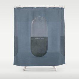 "Aldous Huxley ""Brave New World"" - Minimalist illustration literary design, bookish gift Shower Curtain"