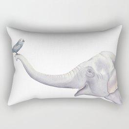Elephant and Bird Watercolor Rectangular Pillow