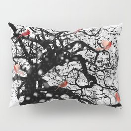 Red Birds in Snow by GEN Z Pillow Sham