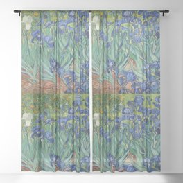Irises aesthetic poster - painting by Vincent van Gogh Sheer Curtain