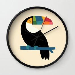 Rainbow Toucan Wall Clock
