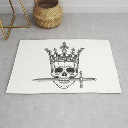 Vintage prince skull in crown with sword monochrome black and white illustration print Rug