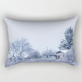 Snowy winter cabin in the woods Rectangular Pillow