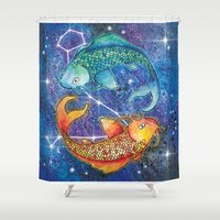 pisces Shower Curtains featuring Pisces  by Georgia Roberts