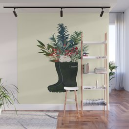 Christmas Boot Floral Bouquet No Text Wall Mural