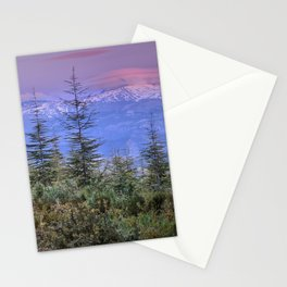 Sierra Nevada at sunset. Purple clouds Stationery Cards