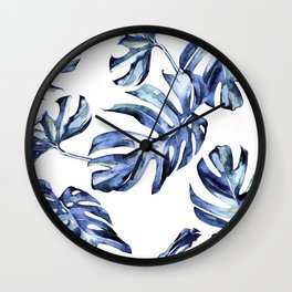 Blue Palm Leaves Wall Clock
