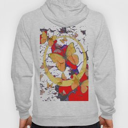YELLOW  BUTTERFLIES IN WHITE & RED ABSTRACT Hoody