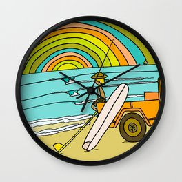 Retro Surf Days Single Fin Pick Up Truck Wall Clock