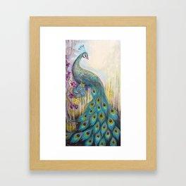 Jeweled Peacock Framed Art Print