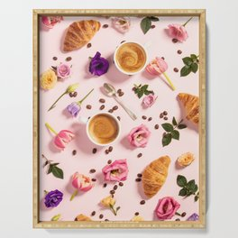 Morning coffee, croissants and a beautiful flowers Serving Tray