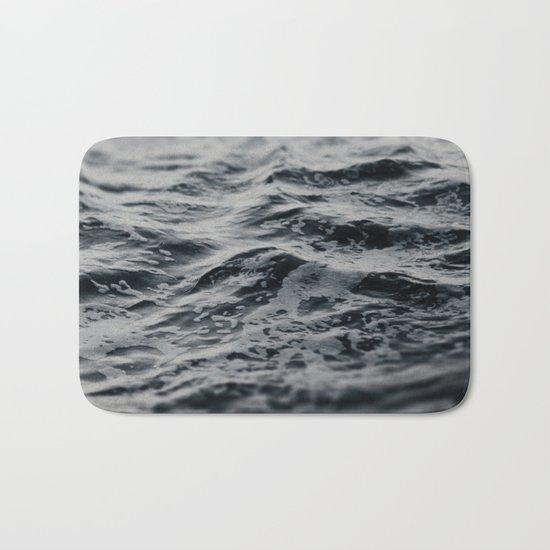 Ocean Magic Black and White Waves Bath Mat