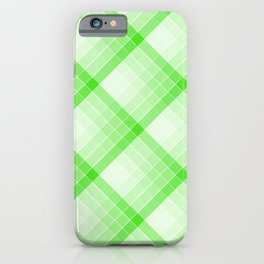 Green Geometric Squares Diagonal Check Tablecloth iPhone Case