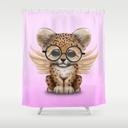 Cute Leopard Cub Fairy Wearing Glasses Pink Shower Curtain