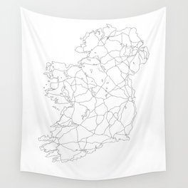 Ireland White Map Wall Tapestry