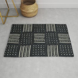 Mud cloth in black and white Rug