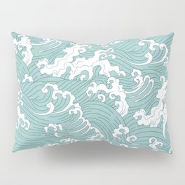 Traditional Hand Drawn Japanese Wave Ink Pillow Sham